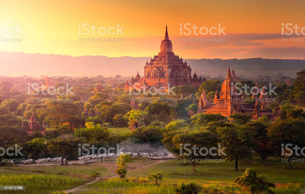 Pagoda landscape in the plain of Bagan, Myanmar. stock photo