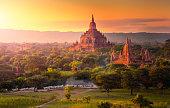 Pagoda landscape in the plain of Bagan, Myanmar.