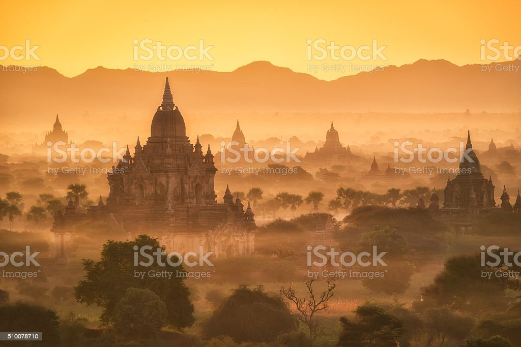 Pagoda landscape the Temples of Bagan(Pagan), Mandalay, Myanmar stock photo