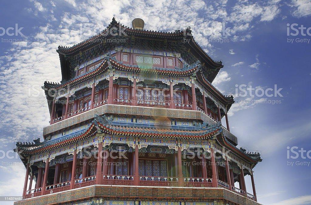 Pagoda of Buddha Fragrance in Summer Palace, Beijing, China stock photo