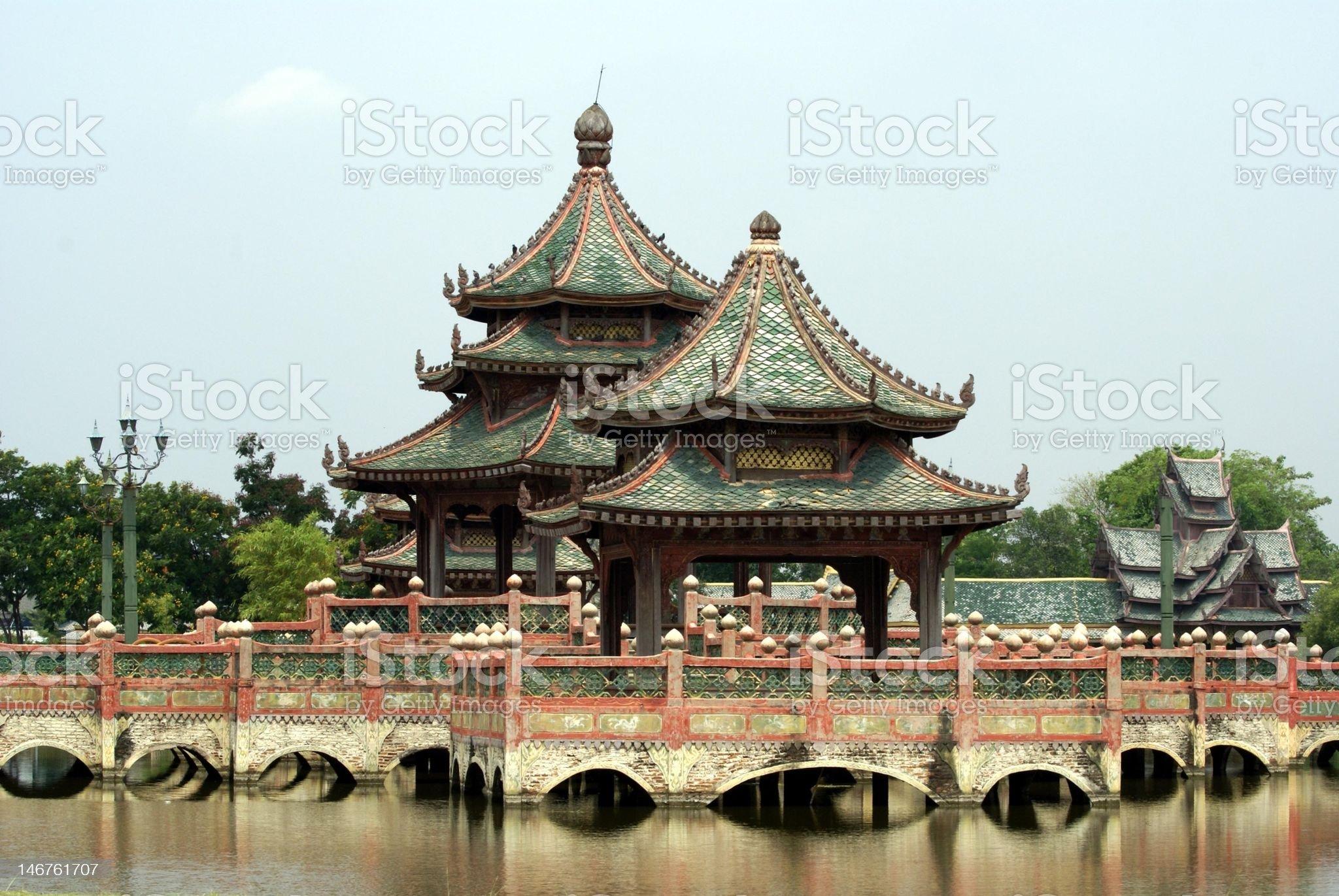 Pagoda on bridge over lake royalty-free stock photo