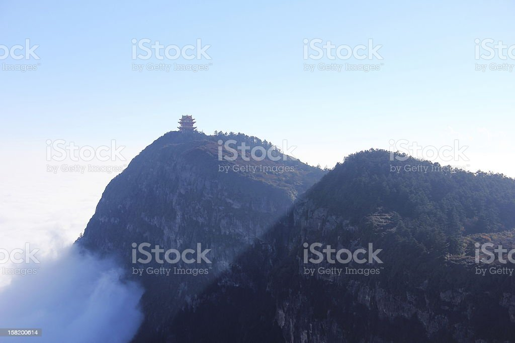 Pagoda on mountain stock photo
