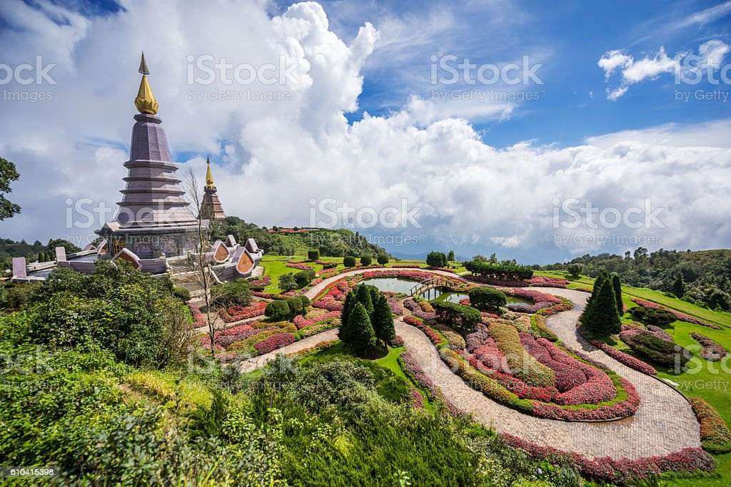 Pagoda on the top of Inthanon mountain, Chiang Mai, Thailand. stock photo