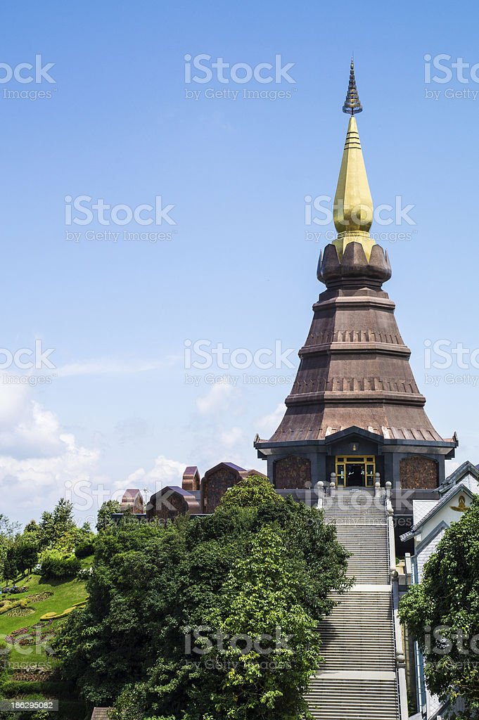 Pagoda on the top of mountain Inthanon, Chiang Mai, Thailand royalty-free stock photo