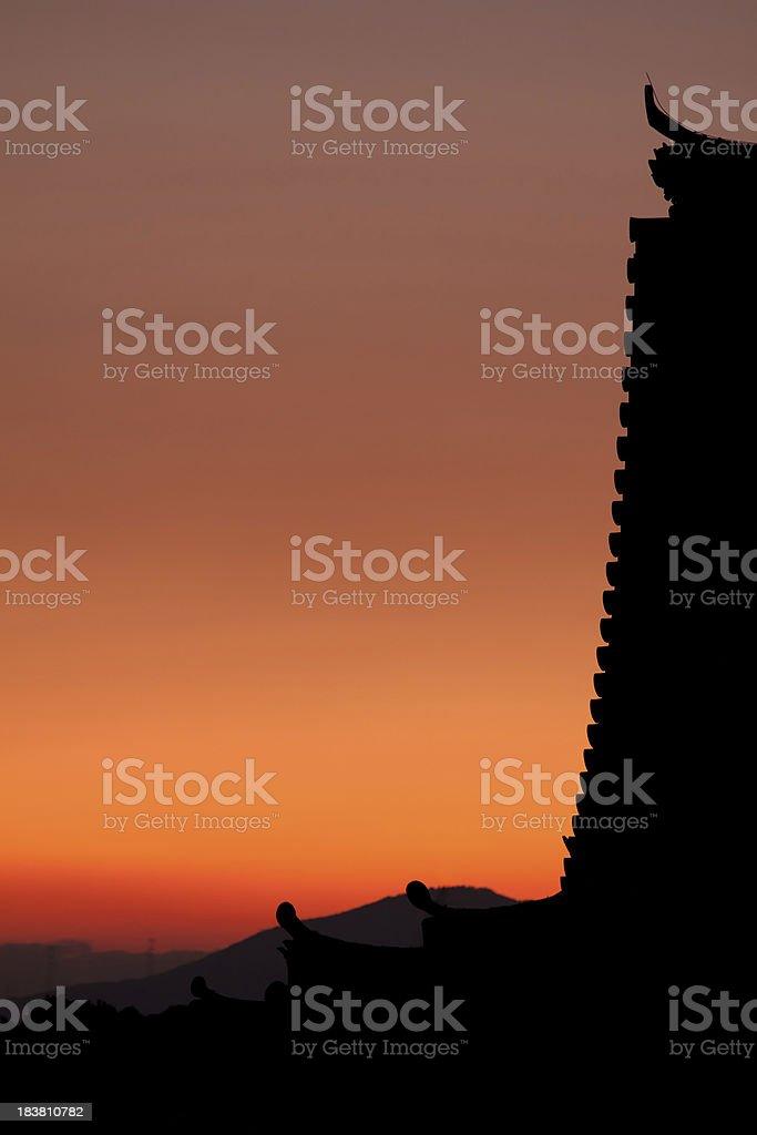 Pagoda rooftop sunset royalty-free stock photo