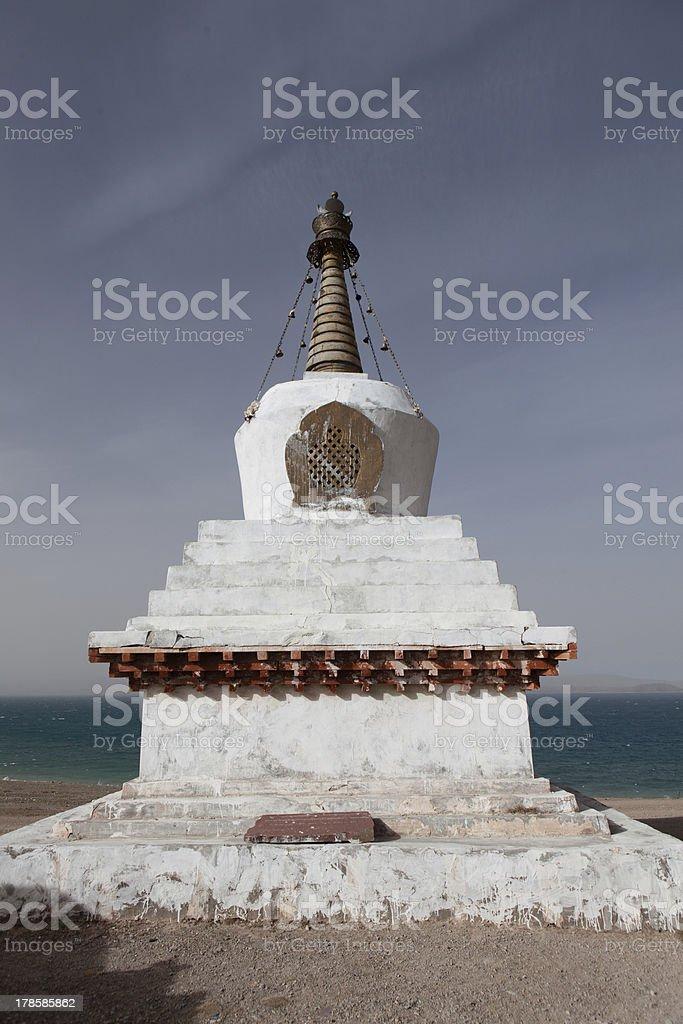 Pagoda side the Namtso Lake stock photo