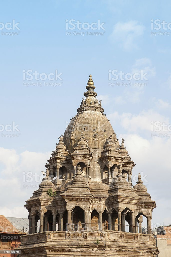 Pagoda style temple in the ancient city of Patan. stock photo