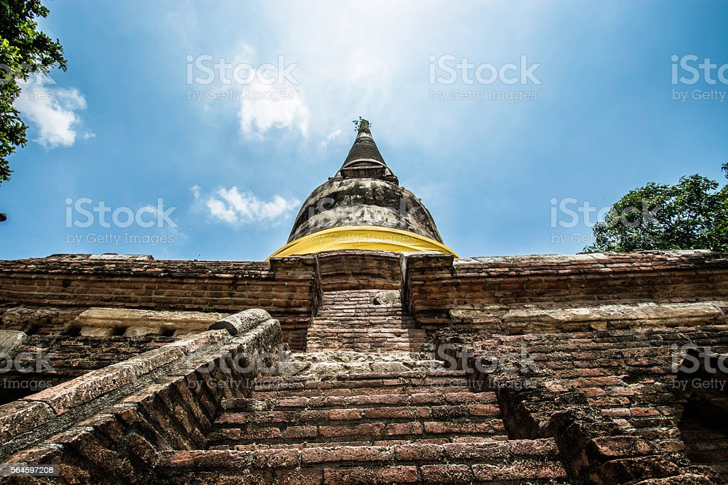 Pagoda Wat Yai Chaimongkol temple, Ayutthaya Thailand royalty-free stock photo