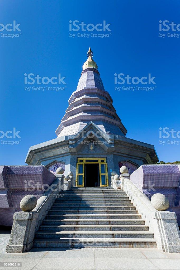 Pagoda with blue sky stock photo