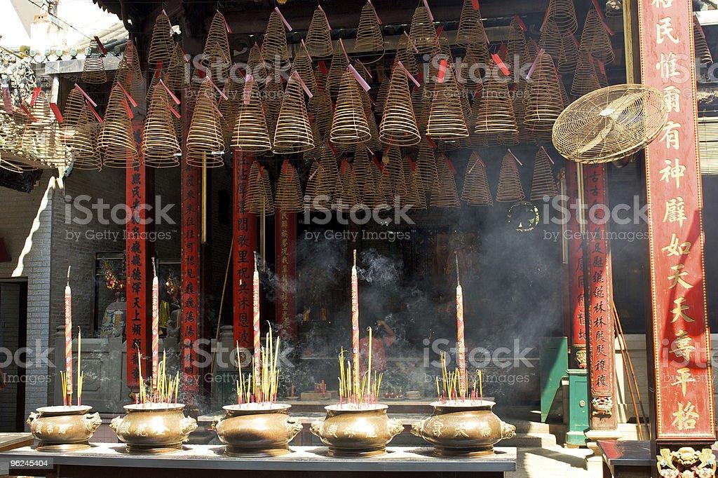 Pagoda with incense sticks royalty-free stock photo