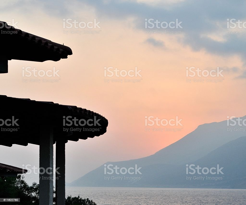 Pagoda-Like in Mediterranean Sunset stock photo