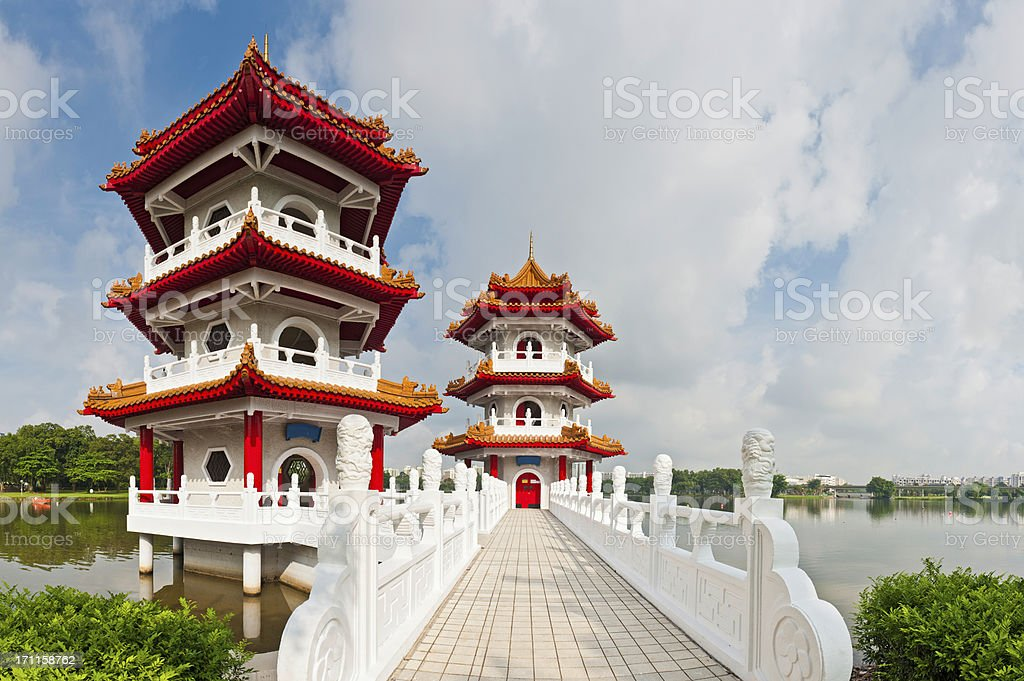 Pagodas and marble bridge Chinese gardens Singapore Asia royalty-free stock photo