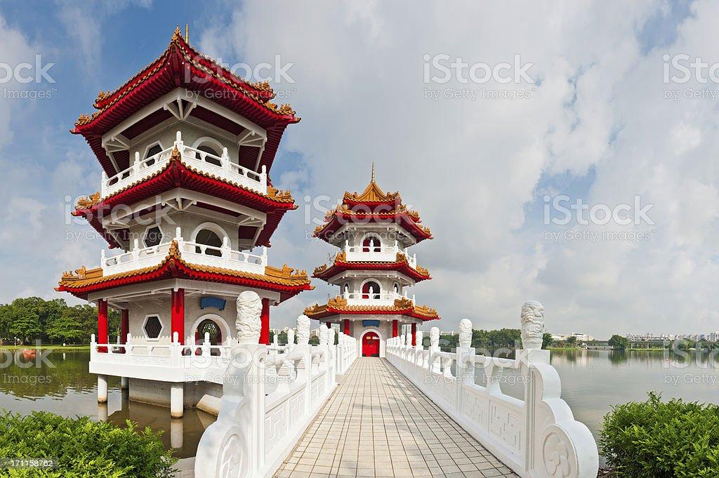 Pagodas and marble bridge Chinese gardens Singapore Asia stock photo