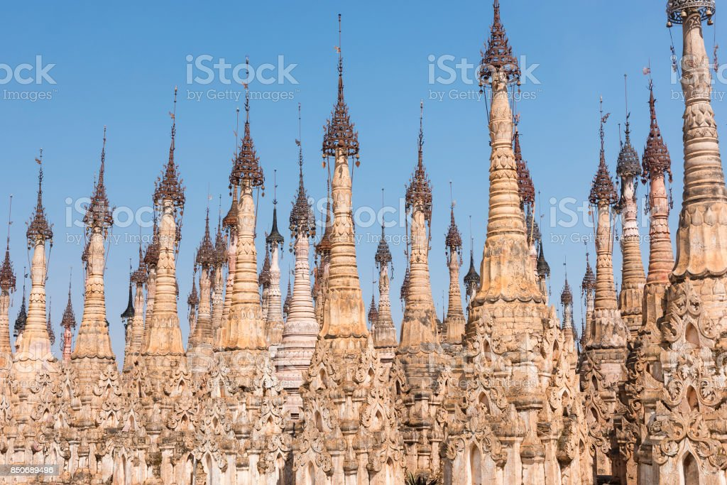 Pagodas at Kakku stock photo