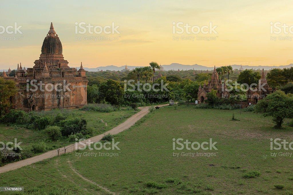 Pagodas at sunset, Bagan, Myanmar stock photo