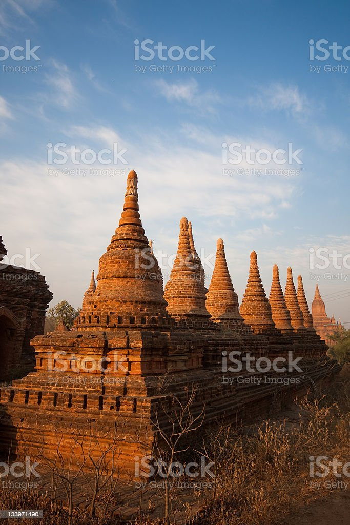 Pagodas at sunset in Bagan, Myanmar royalty-free stock photo