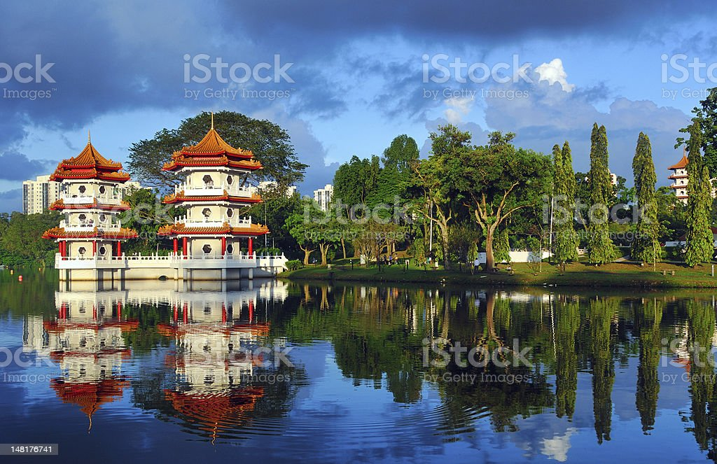 Pagodas Beside a Lake stock photo