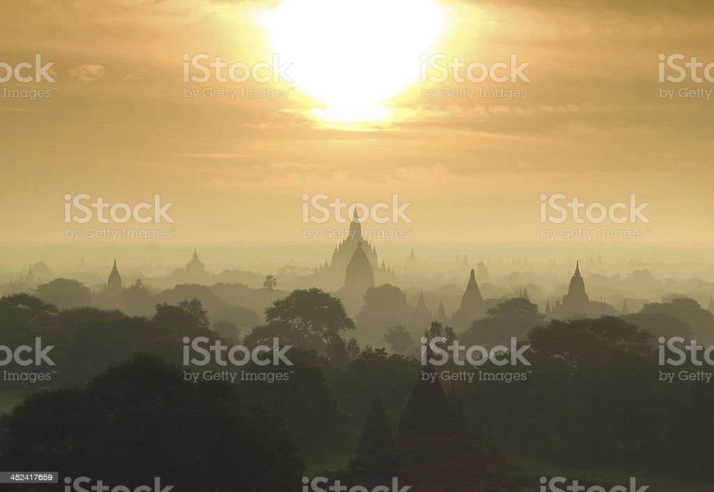 Pagodas in Bagan (Pagan), Burma (Myanmar) stock photo