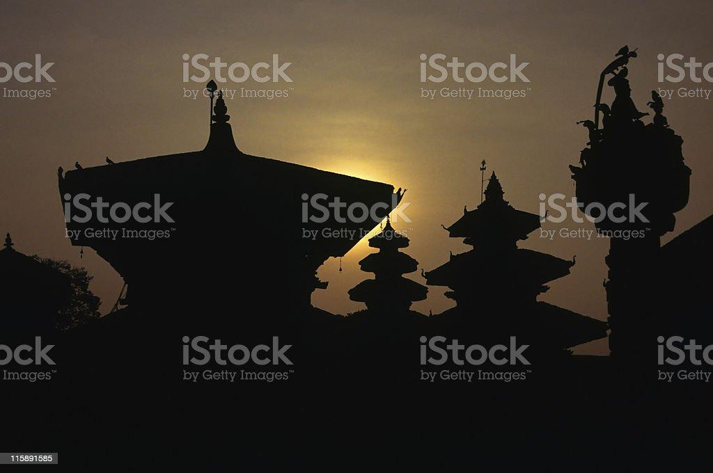 Pagodas in Durbar Square, Kathmandu royalty-free stock photo