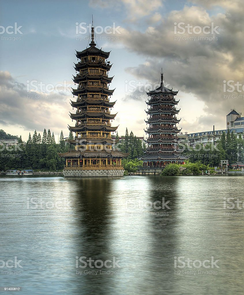 Pagodas in Fir Lake,downtown Guilin royalty-free stock photo