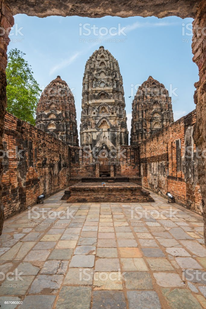 Pagodas in historical park stock photo