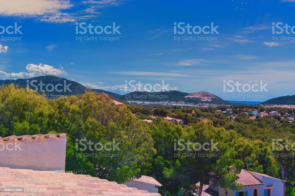 Paguera im Hintergrund Badia de Palma. stock photo