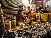 Paharganj street market at night Delhi India