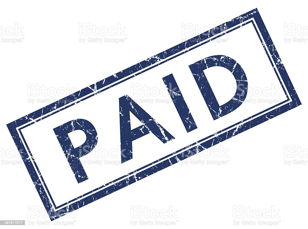 paid blue square stamp stock photo