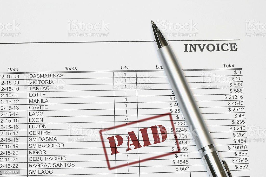 Paid Invoice royalty-free stock photo