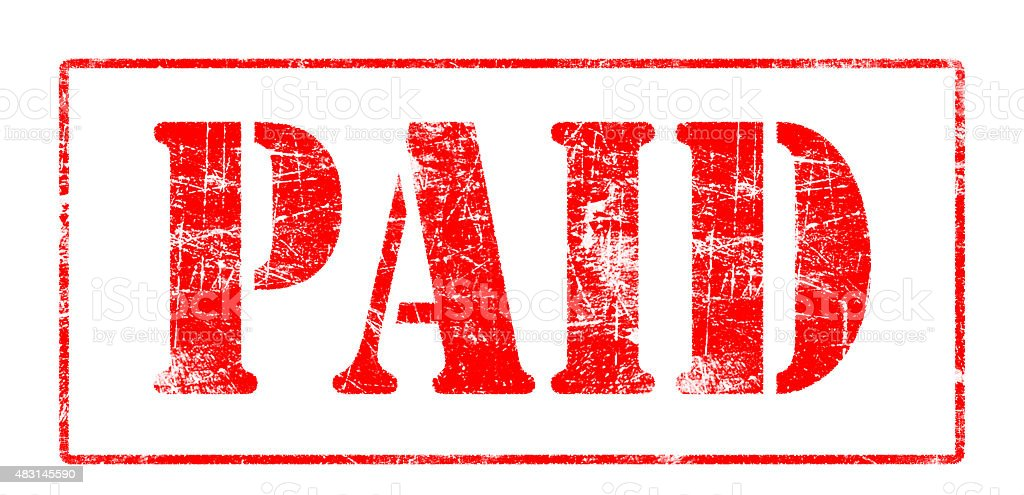 Paid - Rubber Stamp stock photo