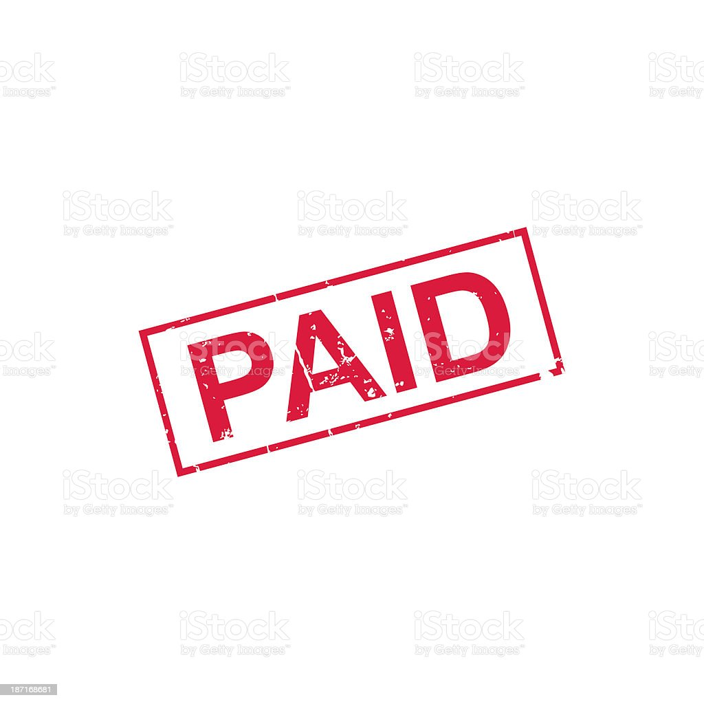 Paid - stamp stock photo