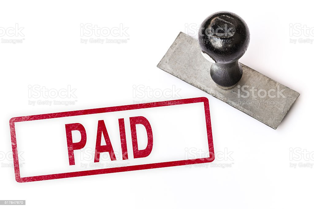 paid text sign label stamp. stock photo