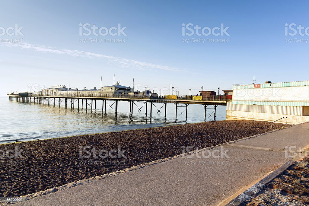 Paignton pier and sandy beach Torbay Devon England stock photo