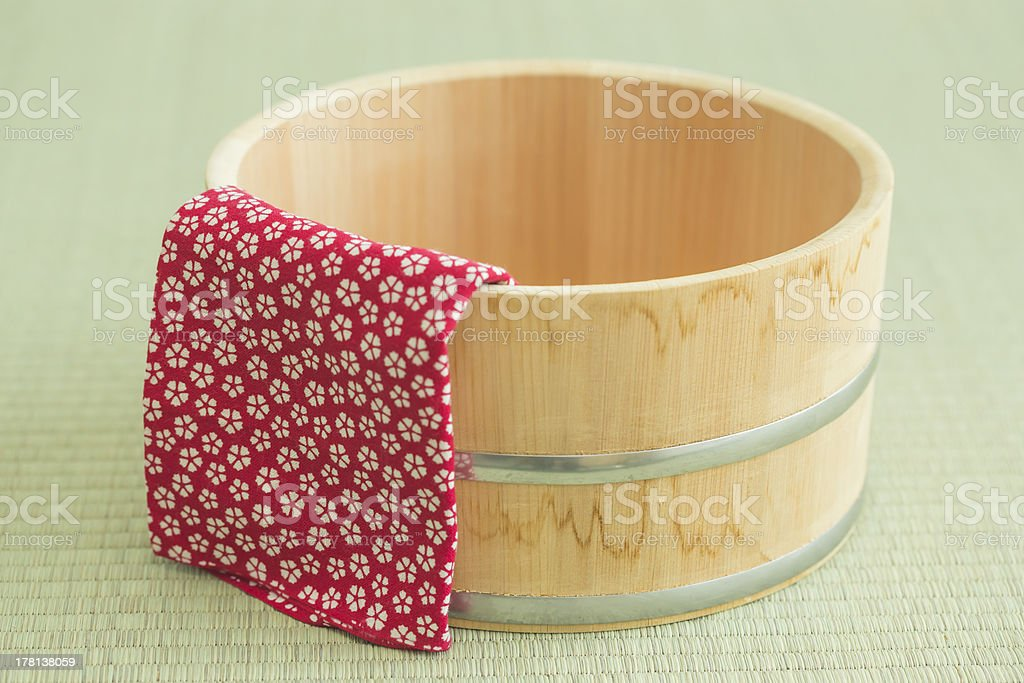 Pail and Japanese towel stock photo