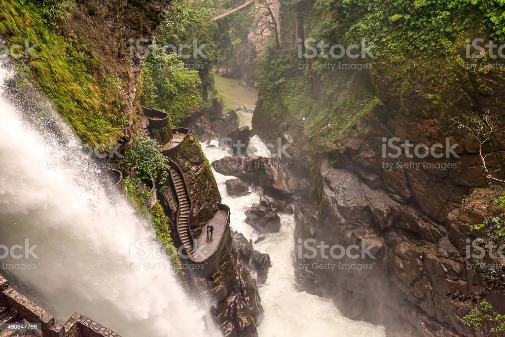 Pailon Del Diablo, Devils Cauldron Waterfall stock photo