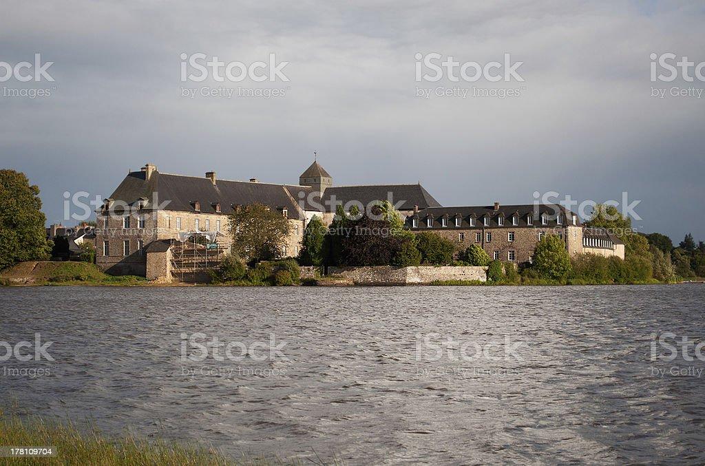 Paimpont abbey near the lake, France stock photo