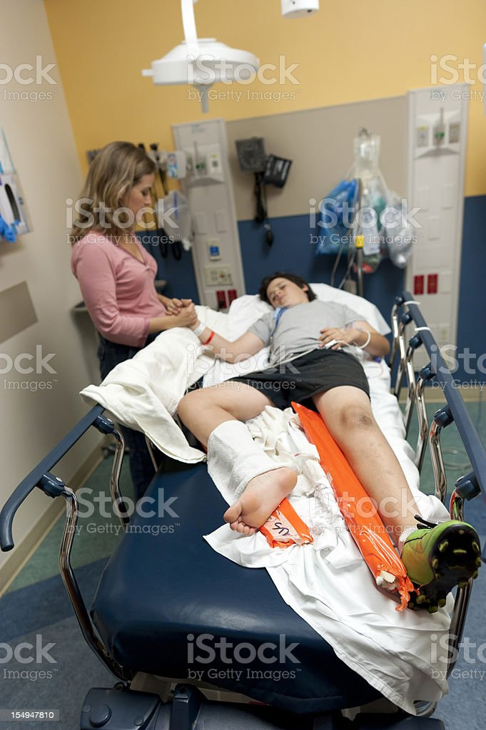 Pain at the emergency room stock photo