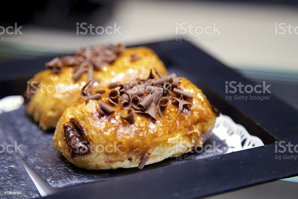 Pain Au Chocolat on a Plate stock photo