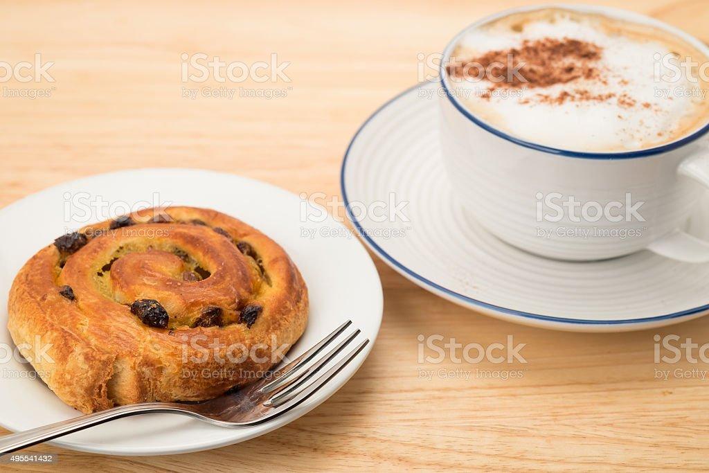 Pain au raisin pastry breakfast stock photo