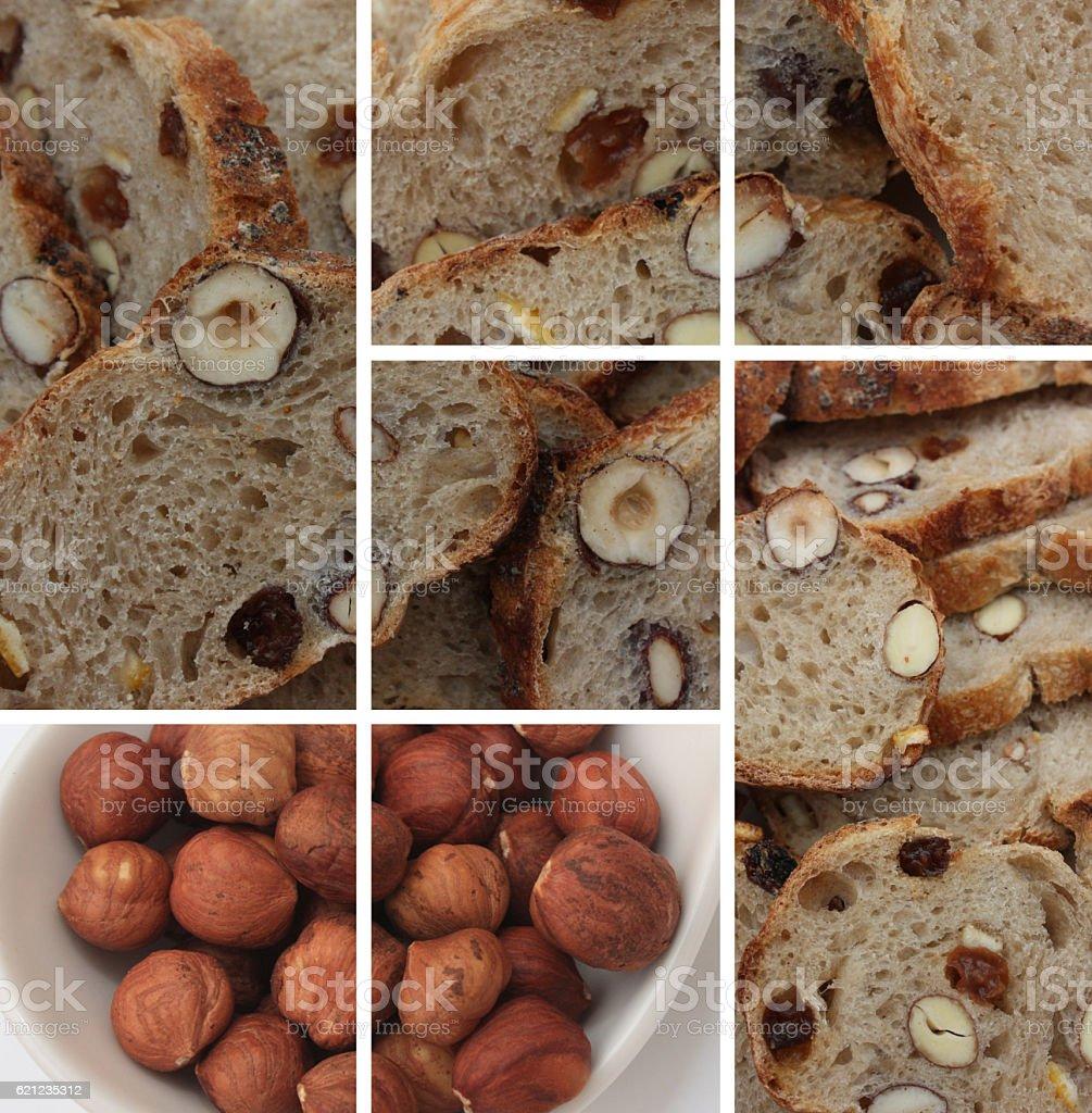 Pain aux noisettes et raisins secs stock photo