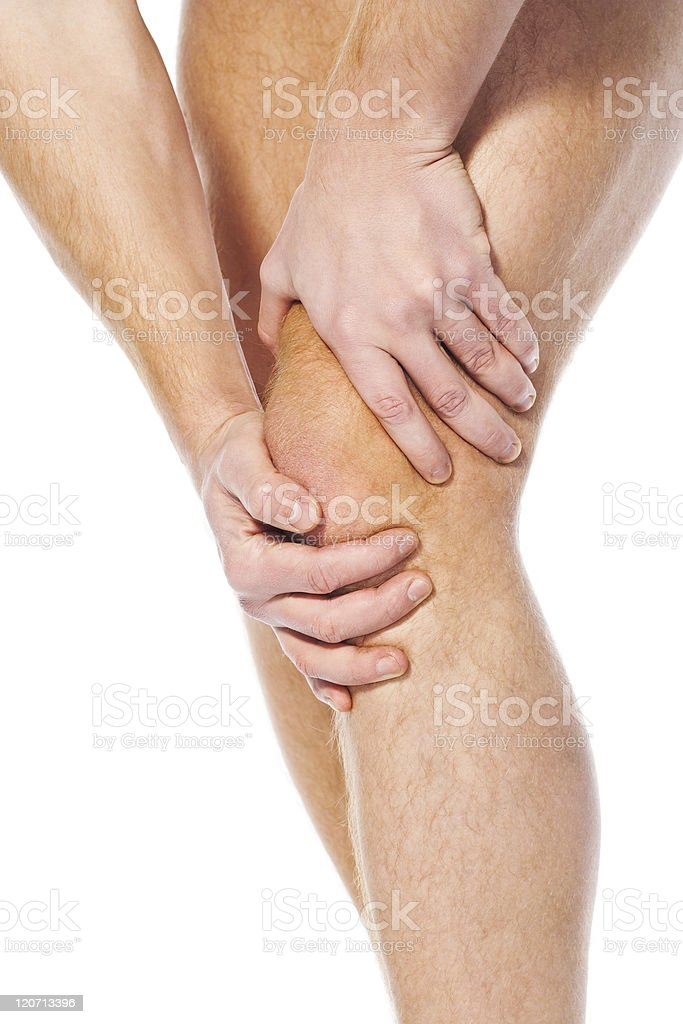 Pain in a knee. sports trauma royalty-free stock photo