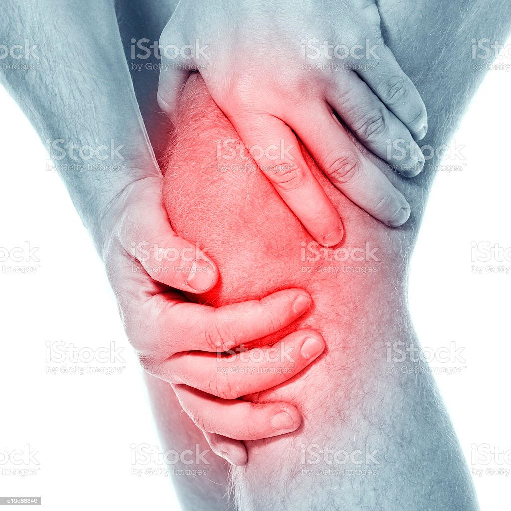 Pain in a knee. sports trauma stock photo