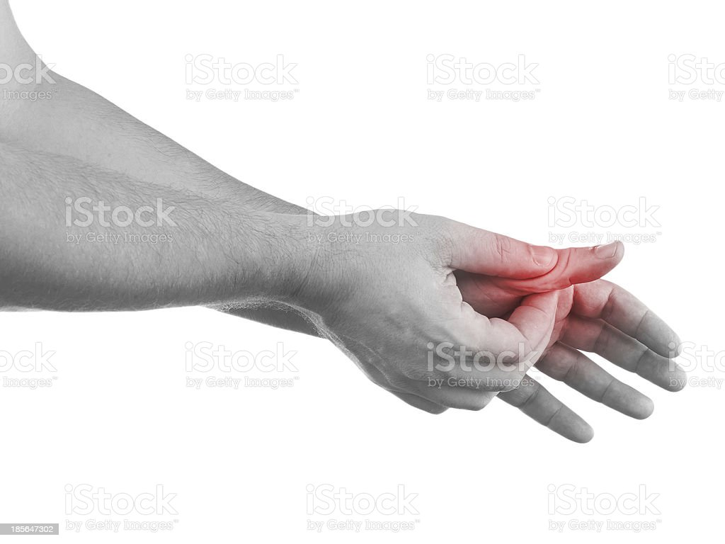 Pain in a man finger royalty-free stock photo