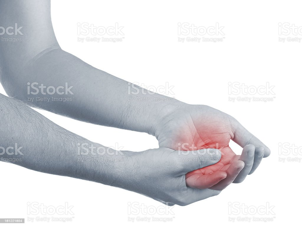 Pain in a man palm royalty-free stock photo