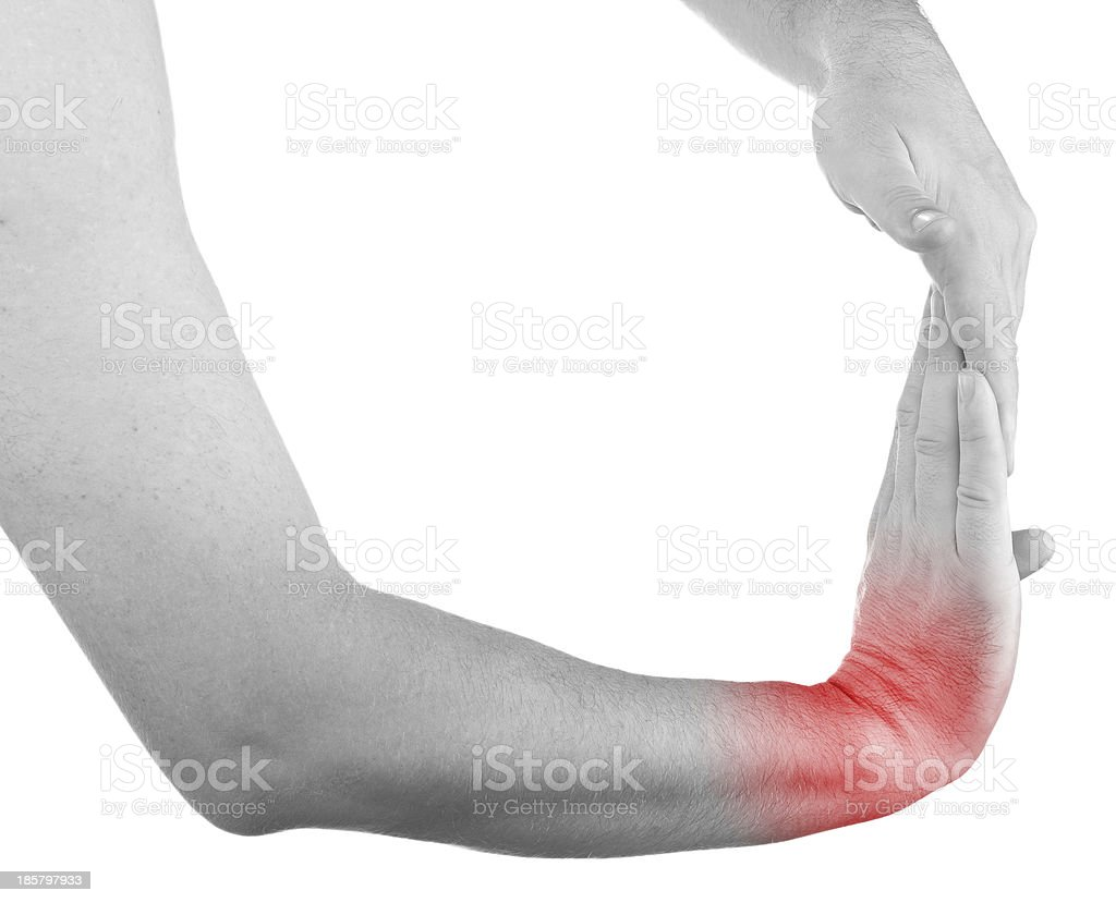 Pain in a man wrist royalty-free stock photo