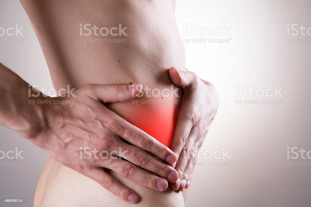 Pain in a man's body. Attack of appendicitis stock photo