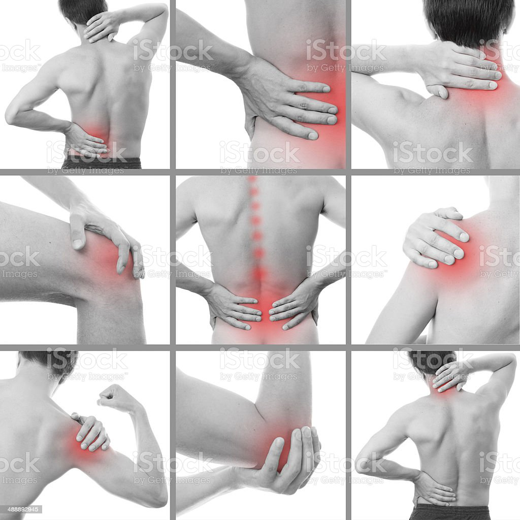 Pain in a man's body stock photo