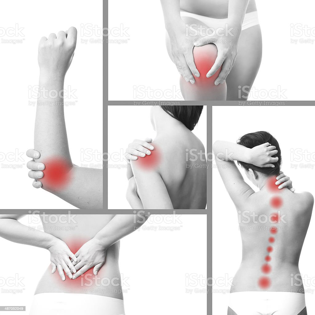 Pain in a woman's body stock photo