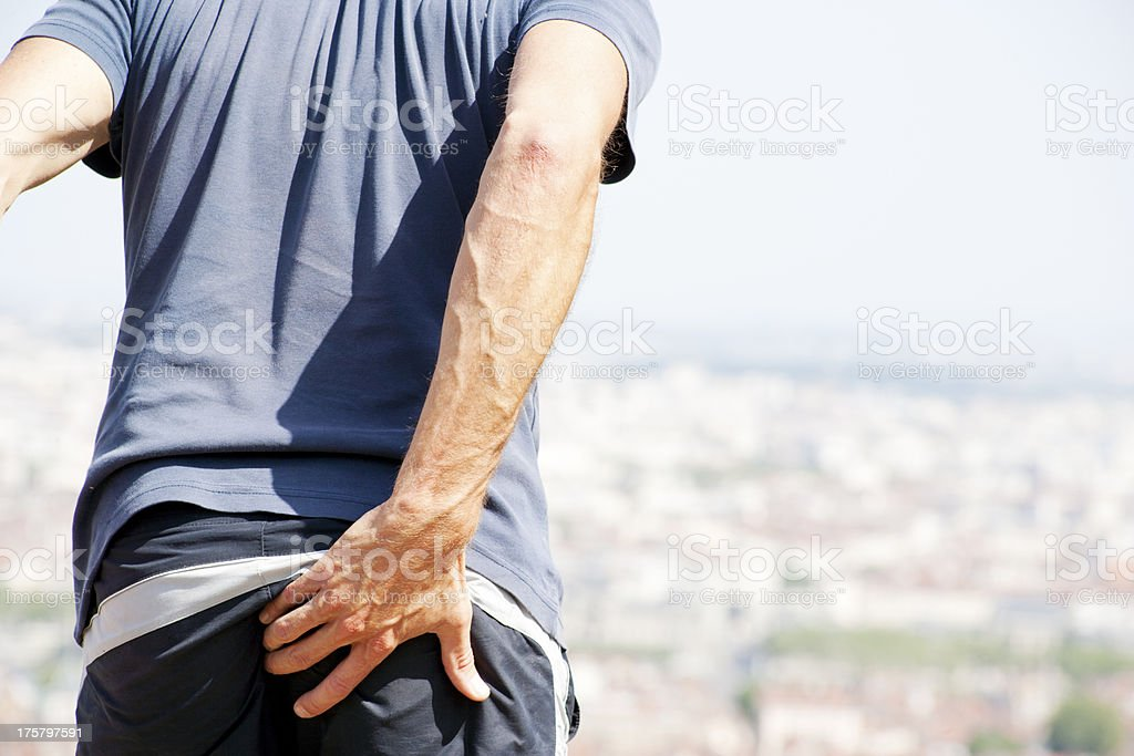 Pain in anal region stock photo