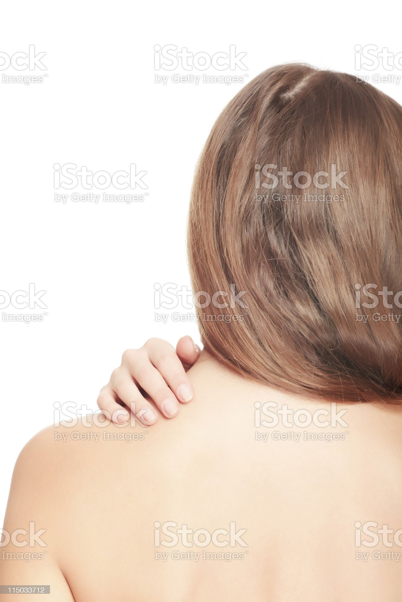 Pain in back royalty-free stock photo